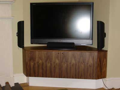 Fitted corner entertainment cabinet with doors open