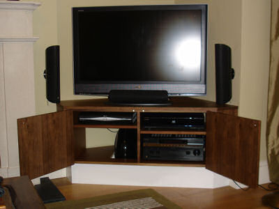 Fitted corner entertainment cabinet