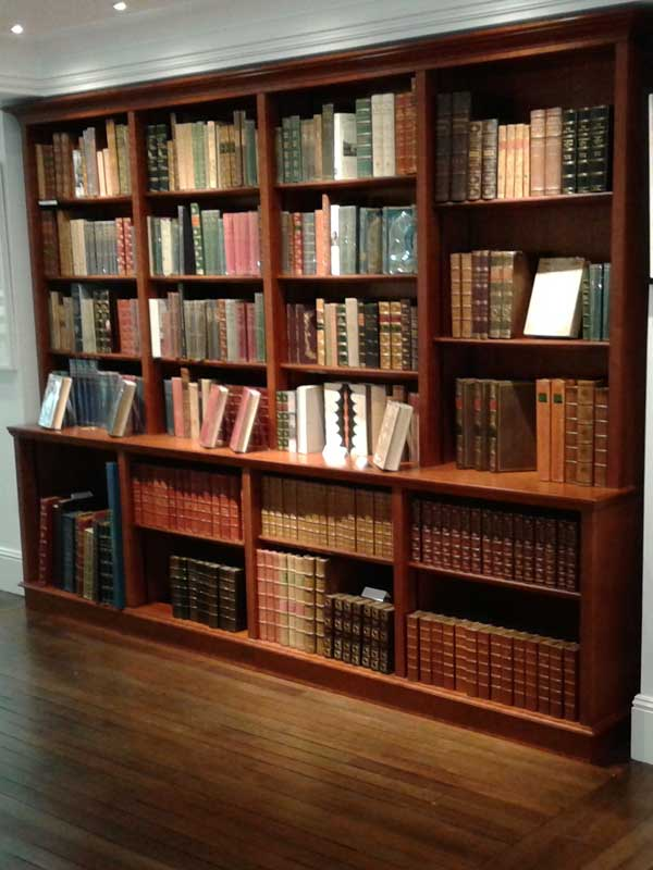 Mahogany bookshelving in a bookshop