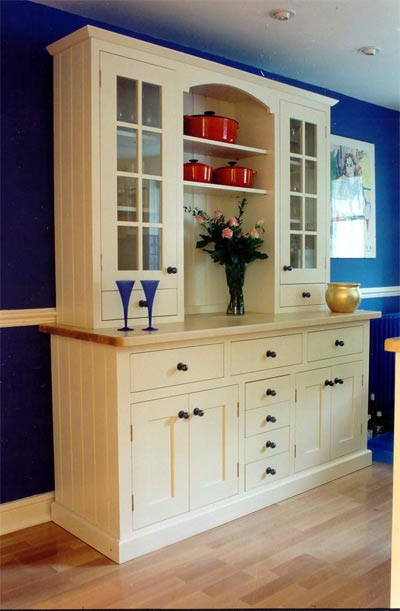 Spray painted kitchen dresser